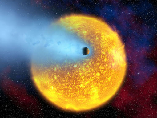 Planet HD 209458b is evaporating - it is so close to its parent star that its heated atmosphere is simply expanding away into space