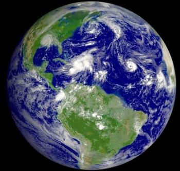 full disk Western Hemisphere view of the Earth in September 2008 NOAA satellite image