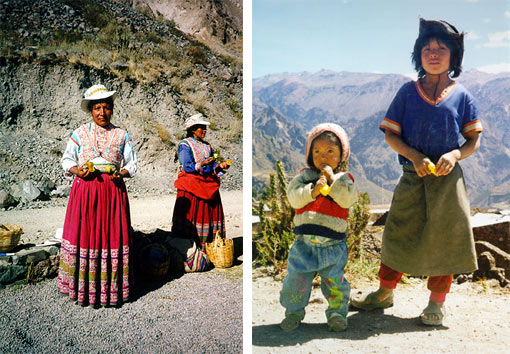 left: women selling prickly pears or cactus fruit; for 1/2 a sol you become the proud owner of a de-thorned and peeled pear; right: two children of Valle de Colca