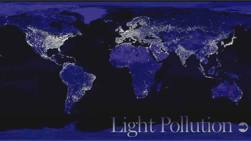 composite of satellite images of the world shows light pollution in populated areas