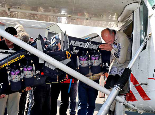 Yves Rossy, who calls himself FusionMan, boarded his plane at the Marck airfield near Calais