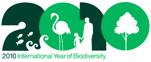 2010 International Year of Biodiversity. In the logo, symbolizing biodiversity, include fish, waves, a flamingo, an adult and child, and a tree.