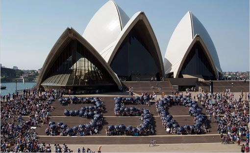 At the Sydney Opera House in Australia, activists form a human '350,' which some scientists call the upper limit for heat-trapping carbon dioxide in the atmosphere, in parts per million. Over 4,300 similar demonstrations were organized around the world on Saturday in a campaign to rein in the greenhouse gas emissions that contribute to global warming.