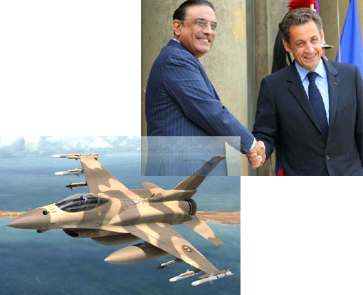 Top R: French President Nicolas Sarkozy shakes hands with Pakistani President Asif Ali Zardari prior to a meeting at the Elysee Palace in Paris on May 15, 2009
