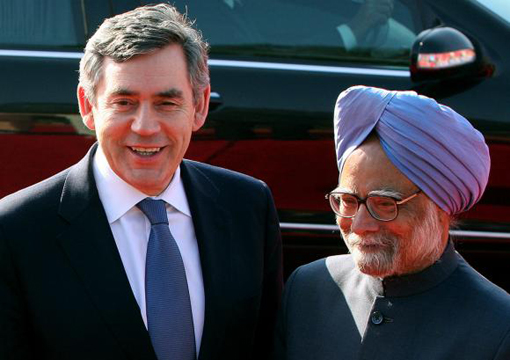 Britain's Prime Minister Gordon Brown and his Indian counterpart Manmohan Singh
