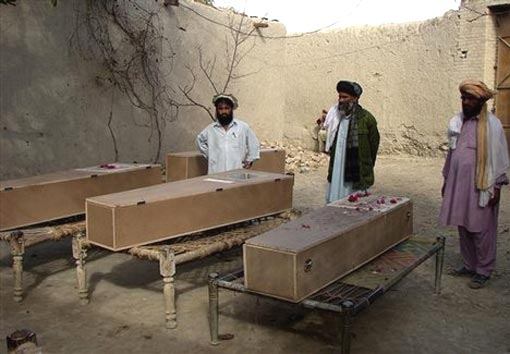 coffins of victims of suspected U.S. missile strike in a Pakistani Village