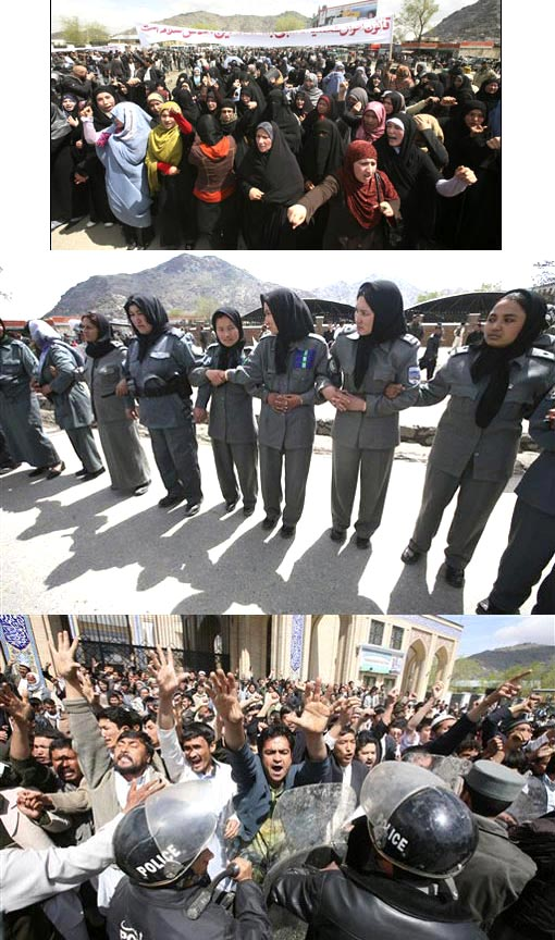 Top: About 300 Afghan Shiite women march in Kabul in protest of a new marriage law. Middle: Afghan female police officers link their arms to create a barrier for Shiite counter protesters during a demonstration in Kabul, Afghanistan on Wednesday, April 15, 2009. The group of some 1,000 Afghans swarmed a demonstration by 300 women Wednesday protesting against a new marriage law. Some counter protesters pelted the women with small stones as police struggled to keep the two groups apart. Bottom: Afghan police officers stop the Shiite counter protesters in Kabul, Afghanistan.