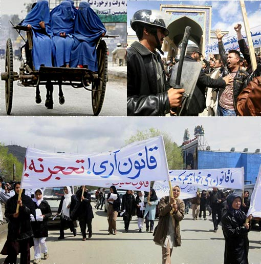 Top left: Burka-covered women ride in a cart in Jalalabad. Some in Afghanistan fear that the rights women won after the fall of the Taliban could be reversed. Top right: An Afghan police officer pushes a counter-protester during a demonstration in Kabul. Bottom: Afghan Shia women protest against a new marriage law Wednesday in Kabul. A group of some 1,000 Afghans swarmed the demonstration by 300 women Wednesday.