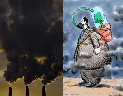Left: Air Pollution; Right: Air Pollution Illustration / Clean air illustration