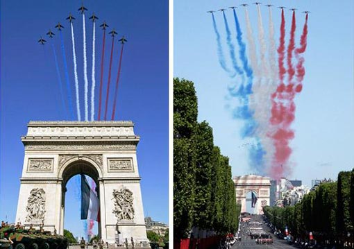 9 Alphajets from the French Air Force's Patrouille de France, or French Aerobatic Patrol, fly in formation over the Arc de Triomphe, trailing the colours of the French flag