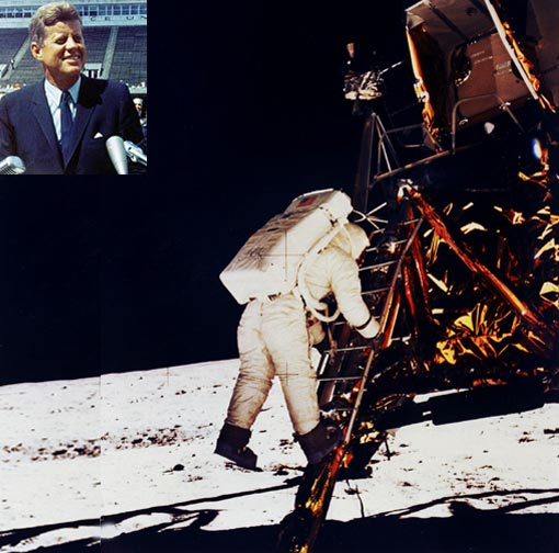 Photo: as Neil Armstrong climbed down the ladder of Apollo 11's Lunar lander, he made his famous quote, 'One small step for man, One giant leap for mankind!'; Inset: President John F. Kennedy
