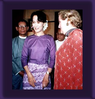 Sept 9 1995 - Myanmar's pro-democracy leader Aung San Suu Kyi welcomes then United States Secretary of State Madeleine Albright