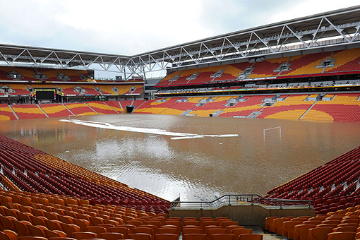 Suncorp Stadium is submerged as flood waters inundate Brisbane on January 12 2011
