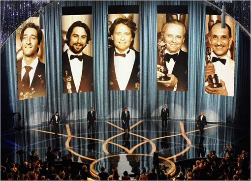 former Oscar winners Adrien Brody, Robert DeNiro, Michael Douglas, Anthony Hopkins and Ben Kingsley presented the award for best actor, which was won by Sean Penn for his role in Milk