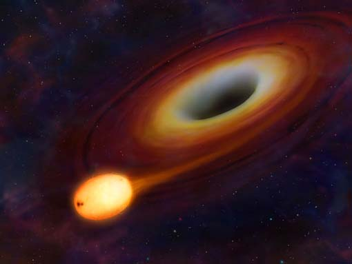 Artist's impression of the initial stages of a star being consumed by the central black hole of a distant galaxy. In the end the start disintegrated blasting jets of energy from the black hole, enabling scinetists to study and reconstruct the cosmic drama.