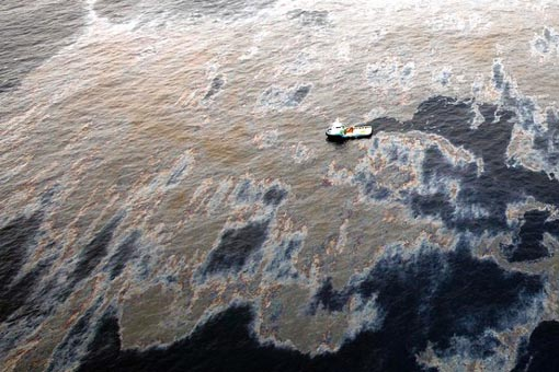 The oil spill in an offshore field operated by Chevron at the Bacia de Campos, in Rio de Janeiro state, Brazil, is shown on Friday.
