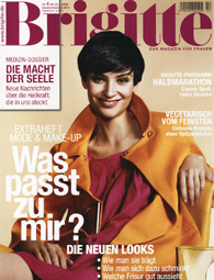 Brigitte is the leading German womens' magazine. It contains extensive feature articles and interviews as well as photo essays. Also, job advice, health and environment pages, as well as recipes, travel features, decorating ideas, and beauty. The main feature - fashion, fashion, fashion!