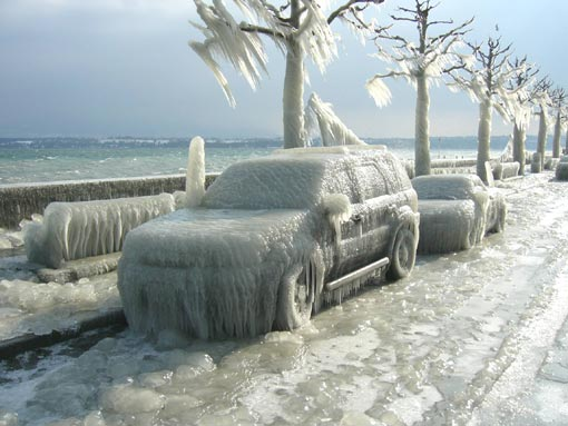 ice storm, Geneva, Switzerland
