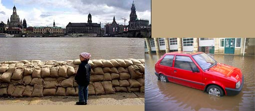 Left: A little girl in Dresden looks at the sandbanks stacked up against the walls of the Elbe river; Right: Around 5 million people, in 2 million properties live in flood risk areas in England and Wales.