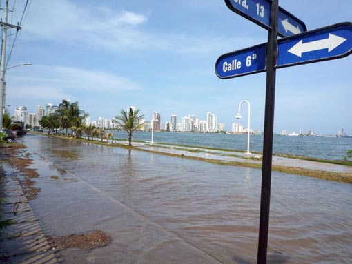 High tides recently cut off the Boca Grande section of Cartagena, in Colombia. Scientists say Latin American cities are at higher risk because sea levels will rise most near the equator.
