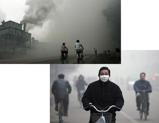 Bottom right: Linfen ranked first in the list of world 10 most polluted places by the Blacksmith Institute. Other most polluted places include Tianying in China, others from Russia, Azerbaijan, India, Ukraine, Zambia, and Peru. Many of these places are mining areas. Linfen has a high incidence of skin diseases and lung cancer among its three million inhabitants. With high levels of sulfur dioxide in the air, the city pays the price of China's high dependence on coal. China sources 70 percent of its energy requirements from coal.