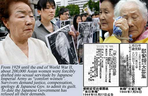 ... South Korean and Chinese comfort women who were sex slaves for Japanese ...