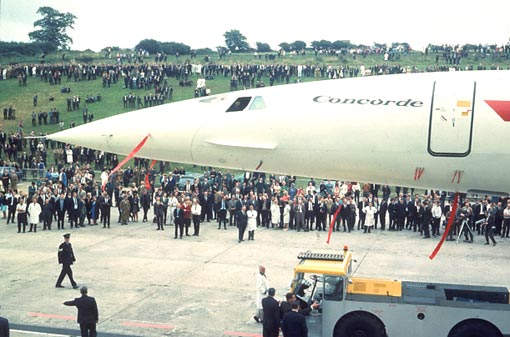 Concorde 002 rolls out of the British Aircraft Corporation's assembly line at Filton in 1968. Later that year the Russian Tupulev Tu-144 became the first supersonic airliner to fly. It was named 'Concordski' because of its resemblance to Concorde. The adjustable nose became its most famous asset, improving the view on take off and landing. As for Concorde 002, it made the first visit to the U.S. in 1973, landing at the new Dallas-Fort Worth Airport to mark its opening.