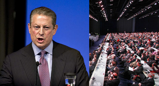 Former US vice-president Al Gore delivers a speech in the Bella center, Copenhagen.