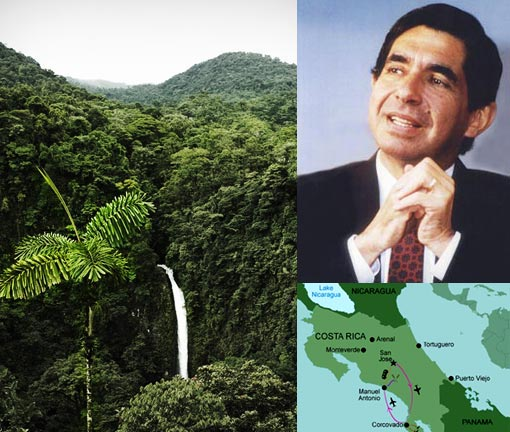 Left: La Fortuna Waterfalls & Rainforest, Costa Rica; Top right: Óscar Arias Sánchez in the 1980s