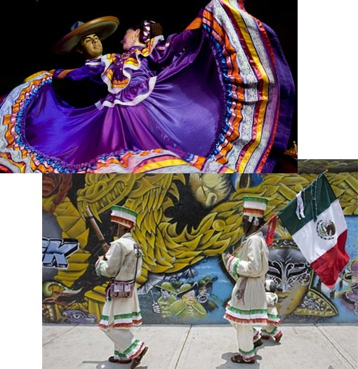 Top: Ballet Folclorico Guadalajara, Mexican folk dancing at the Cinco de Mayo fiesta; Bottom: Two people dressed in period costumes commemorate Cinco de Mayo marking the 1862 defeat of the French Army
