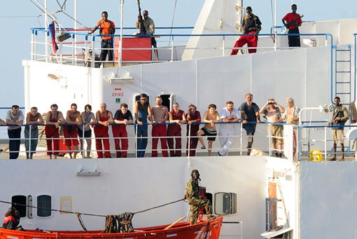 the crew of the hijacked Ukrainian merchant vessel MV Faina off the coast of Somalia