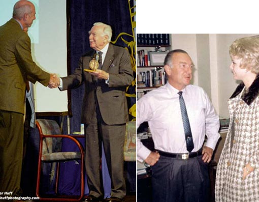 Left: Walter Cronkite receives the Scripps Institute of Oceanography award for his efforts in highlighting science in the media; Right: WEWS Jenny Crimm with Walter Cronkite