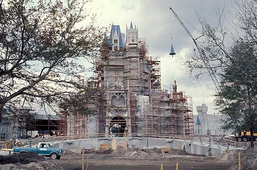 The iconic centerpiece of the Magic Kingdom - destined to become one of the world's most photographed building - goes up at Disney World in Orlando, Florida, 1971.