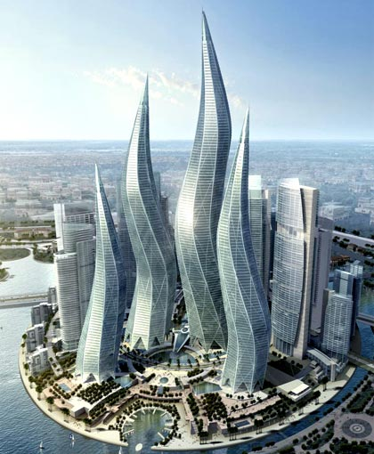 the four towers, ranging from 54 to 97 floors, are clustered to form a choreographed sculpture