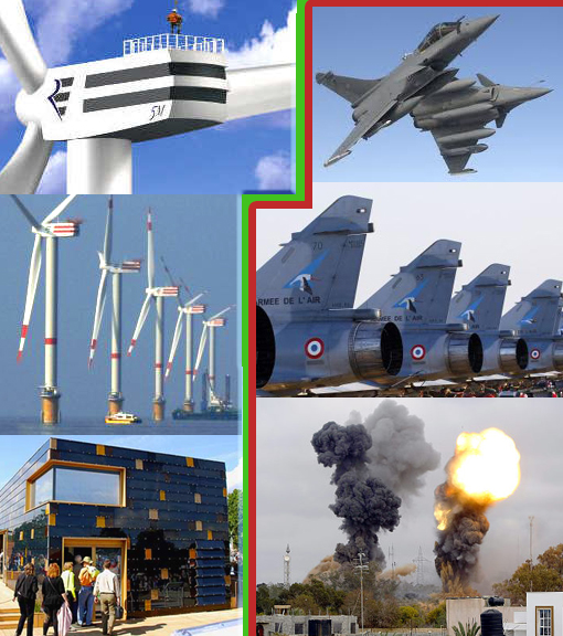 left: Germany leading world in solar power; right: French fighter planes soar over Libya