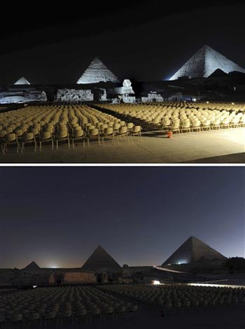night view of the site of the ancient Giza Pyramids before and after switching off the lights for the Earth Hour, in Cairo, Egypt Saturday March 28, 2009