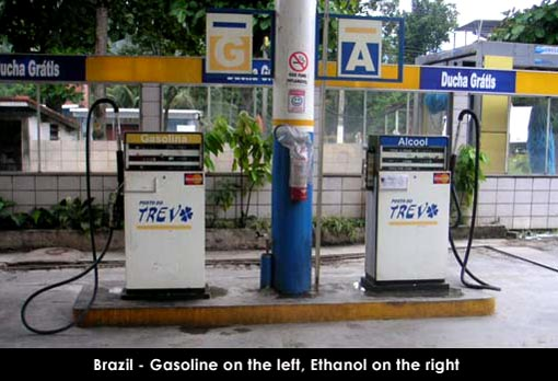 Brazil - Gasoline on left, Ethanol on the right