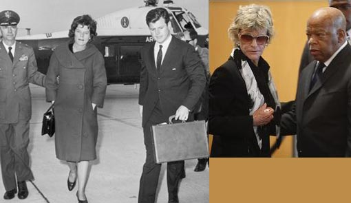 Left: Eunice Kennedy Shriver with her youngest brother, Senator Edward Kennedy after JFK's assassination, pictured in 1963. Eunice, the founder of the Special Olympics, died in 2009 at the age of 88. Her husband Robert Sargent Shriver was a long-time public servant who, among other things, started the Peace Corps. Right: Jean Kennedy Smith, Sen. Edward Kennedy's sister and the last surviving Kennedy sibling is visited by U.S. Rep. John Lewis, D-GA., as he pays his respects at the John F. Kennedy Presidential Library in Boston, Friday morning, Aug. 28, 2009. Kennedy died late Tuesday night of brain cancer.