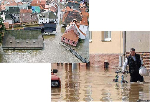 Left: Prague during the devastating summer floods which swept through Eastern Europe; Right: A Czech man carries his belongings as he walks through waters of the Morava river flooding parts of Olomouc in the Czech Republic
