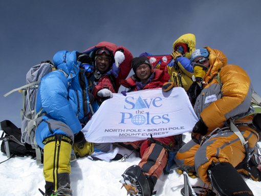 Save the Poles. North Pole, South Pole, and Mt. Everest