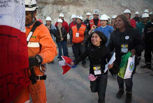 family members joyous to see rescued Chilean miner