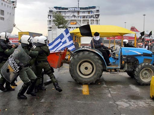 a farmer backs his tractor into a group of riot police as they jump out of his path