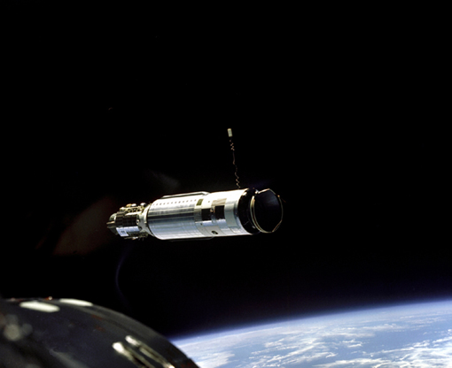 The Agena Target Vehicle as seen from the Gemini 8 spacecraft during rendezvous. This was the first time two spacecraft successfully docked, which was a critical milestone if a mission to the Moon was to become a reality.
