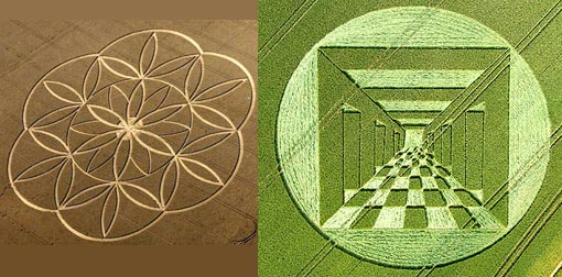 Left: Surprisingly enough, sacred geometry also appears in crop circles all over the world. Are extraterrestrials helping us to understand a new physics? Or do you still believe that the tens of thousands of crop circles that have appeared all over the world are just the work of a few hoaxers? Right: Could Crop Circles be communications from another Civilization?