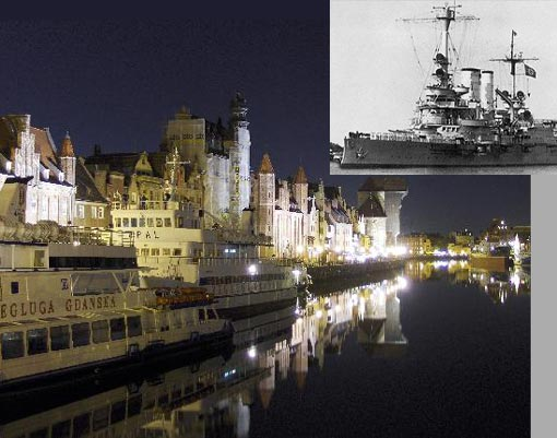 Gdansk at night. Inset: Battleship Schleswig Holstein at Danzig. Completed 1906, she was one of three inherited pre-dreadnought battleships to serve the Nazi cause.