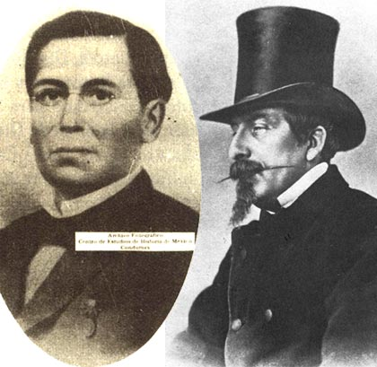 Left: General Ignacio Zaragoza (1829-1862) - born at Bahía del Espíritu Santo, Texas, Zaragoza was educated in Matamoros and the Seminary at Monterrey.  Commanding the Mexican army opposing the French invasion, he defeated French General Count de Lorencez at the battle of Puebla on May 5, 1862; Right: In 1861, Napoleon III plotted to carve out a French empire in Mexico. The French marched on Mexico City, and were defeated at the battle of Puebla (May 5, 1862), setting back Napoleon III's plans for a year.