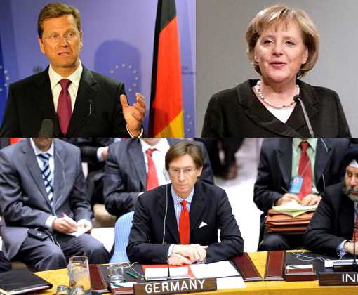 Top left: Guido Westerwelle, German foreign minister. Top right: German Chancellor Angela Merkel. Bottom: Germany's UN Ambassador Peter Wittig abstains fr Libya resolution vote.