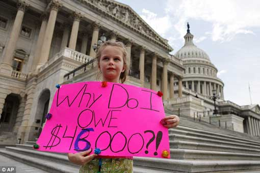 Not happy: Holly Matthews, aged seven, of Kansas City, Missouri, holds a sign supporting a balanced budget amendment, just before the House voted to pass debt legislation