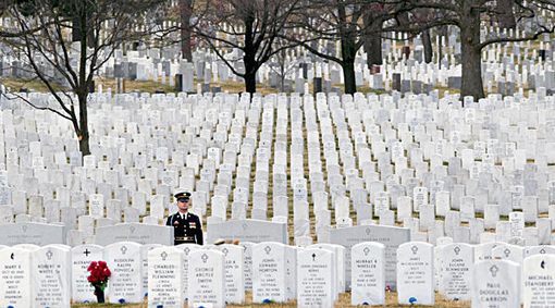 Soldier waits amid the gravestones in Arlington National Cemetery.