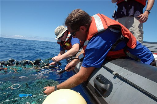 This image provided by the Scripps Institution of Oceanography shows a patch of garbage in the Pacific Ocean on Aug. 11, 2009. Scientists at Scripps Institution of Oceanography on Thursday, Aug. 27, 2009 announced findings from an August expedition to the Great Pacific Garbage Patch, about 1,000 miles west of California.
